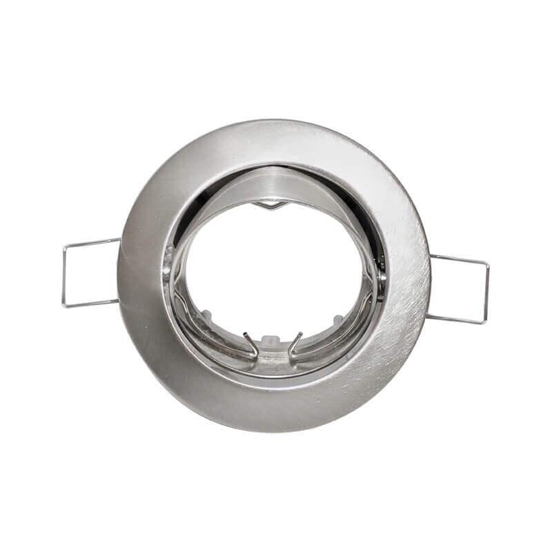 Spot à encastrer rond orientable alu brossé pour lampe GU10 et Gu5.3