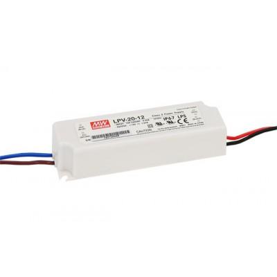 Alimentation LED Meanwell LPV 20W 12V 1,67A Etanche IP67