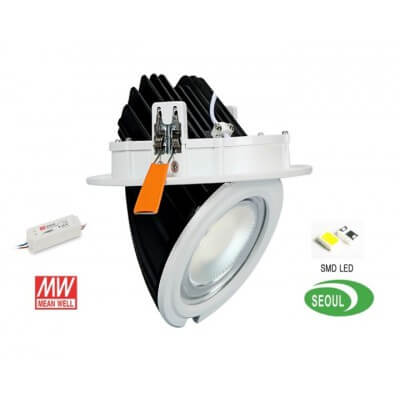 Encastrable LED 40W orientable 4000lm Blanc chaud 3000k Meanwell
