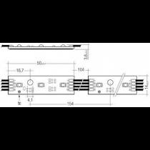 Chaine de 15 modules 3 points Led RGB Tribonic