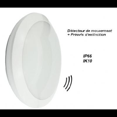 OSLO Hublot LED 22W IP66, IK10 2000Lumens Blanc froid 4000k avec détecteur de présence HF