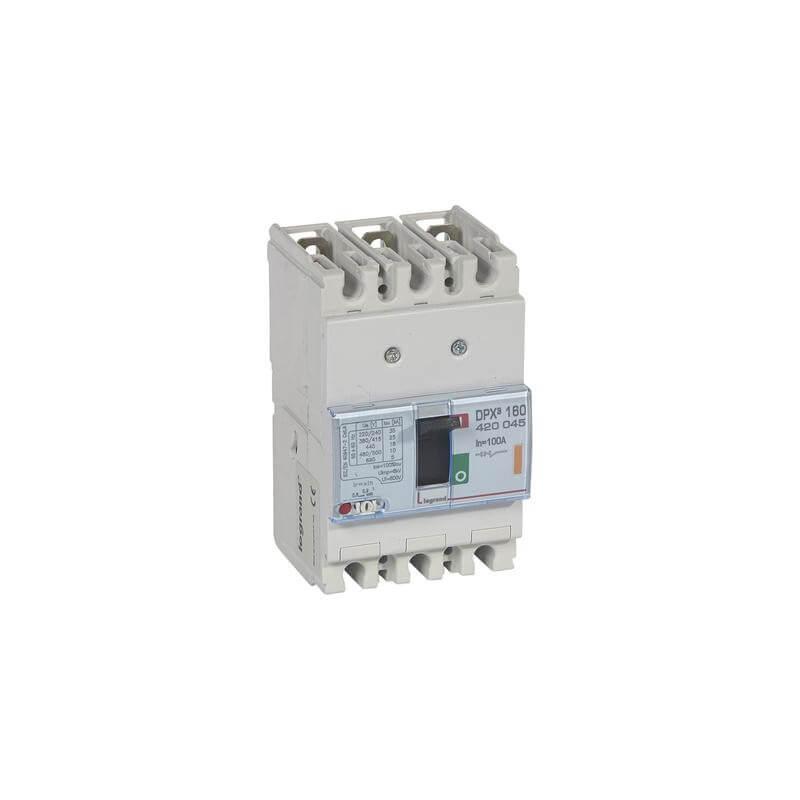 Disjoncteur magnétothermique DPX³160 pouvoir de coupure 25kA 400V~ - 3P - 100A