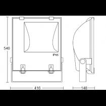 Projecteur a iodure métallique exterieur 400w avec lampe