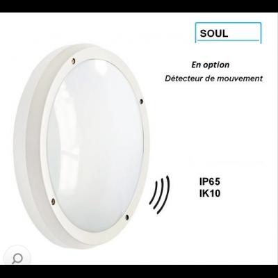 Hublot SOUL Blanc 2*E27 IK10 et IP65 avec détecteur