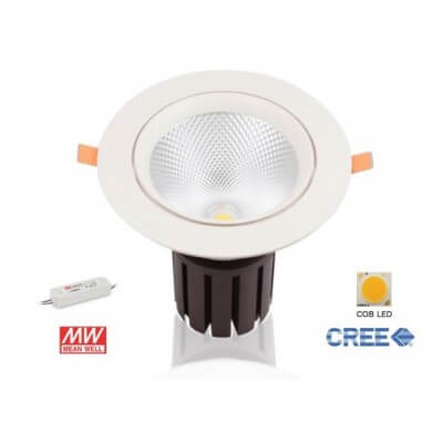 Downlight LED 55W 5500lm  Blanc Froid 4000k Driver Mean well inclus