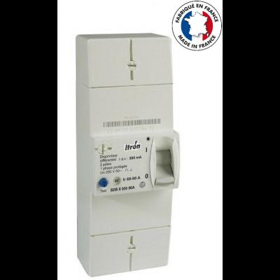 ITRON Disjoncteur de branchement EDF 2P 90A - diff 500mA - instantané