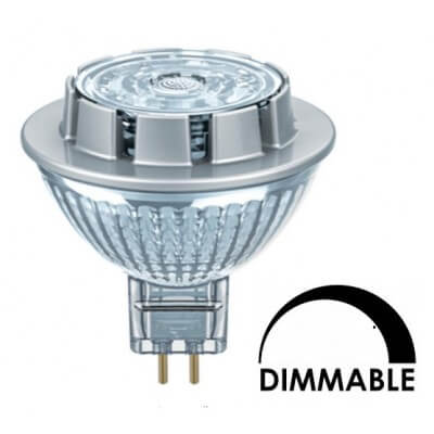 Ampoule LED OSRAM MR16 7,8W substitut 50W 621 lumens blanc neutre 3000K dimmable  GU5,3