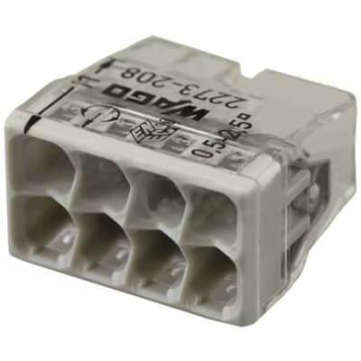 Boite de 50 WAGO 2273-208  8 entrées Gris pour file rigide de 0.5-2.5mm ultracompacte