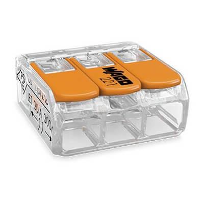 Boite de 50 WAGO 221-413 de 3 entrées pour file souple ou rigide 0.14-0.2  - 4 mm²