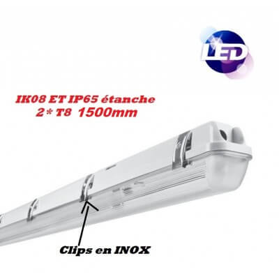 Reglette Double Etanche LED 2*T8 1500mm IK08 IP65 clips INOX 230V