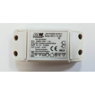 Mini Driver LED MPLC-12-700  12W 700mA IP20 à bornier