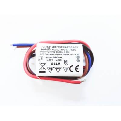 Driver LED MPL-03-700LC 3W de 2.5V a 4.2V étanche IP65