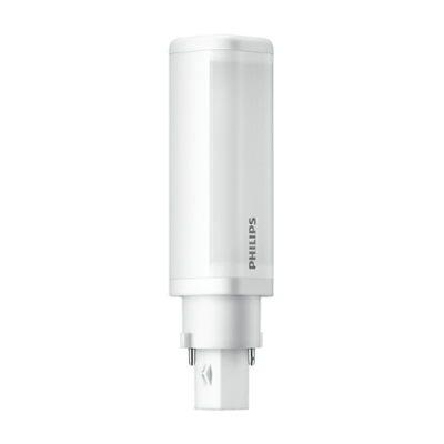 Ampoule LED Philips Tubulaire 4.5W substitut 10-13W 500 lumens Blanc froid 4000K 2 pin G24D-1