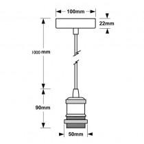 Porte lampe suspension 50W max E27 220V aluminium cuivre antique