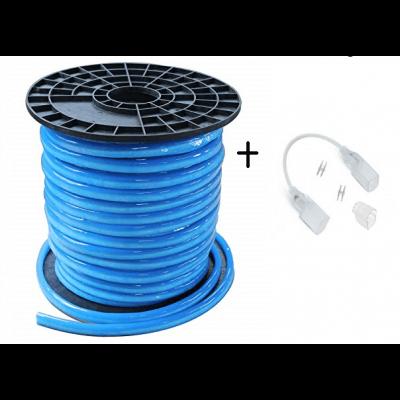 Bobine Neon Flexible Led Bleu  80LED/métre IP44 étanche 50M 24v