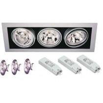 Spot encastrable Cardan pour 3 lampes AR111 12v 50w
