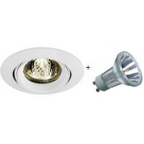 KIT spot Halogene 230v GU10 blanc orientable avec lampe