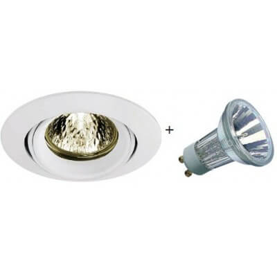 KIT spot Halogene  50w blanc orientable avec lampe GU10 230V