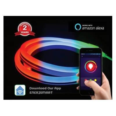 Neon Flexible RGB LED 44w 12V Etanche IP65 - Kit ENER-J Smart Wifi 3m- SHA5297 -