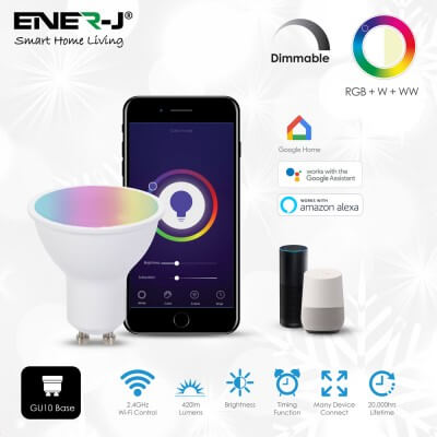 Ampoule connectée Wifi Smart Ener-j LED 5W RGB-W-WW GU10 400lumens  944139