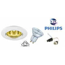 Kit spot rond Led Encastrable Philips 5wsubstitut 50w 3000k GU10 230V Dimmable