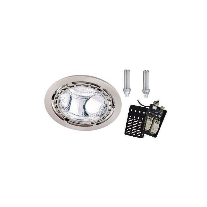 Downlight Fluocompact Rond 2x13w Complet Avec Lampes Et Ballast