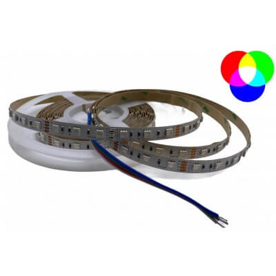 Ruban LED 12V 30led/m RGB multi-couleurs 7.2W/m étanche IP64 5m