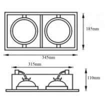 Spot encastrable Cadran pour 2 lampes AR111 12v 50w