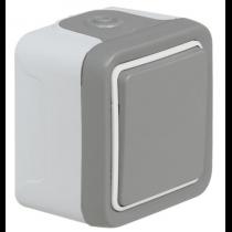 Interrupteur ou va-et-vient étanche Plexo complet IP55 saillie 10AX 250V - gris