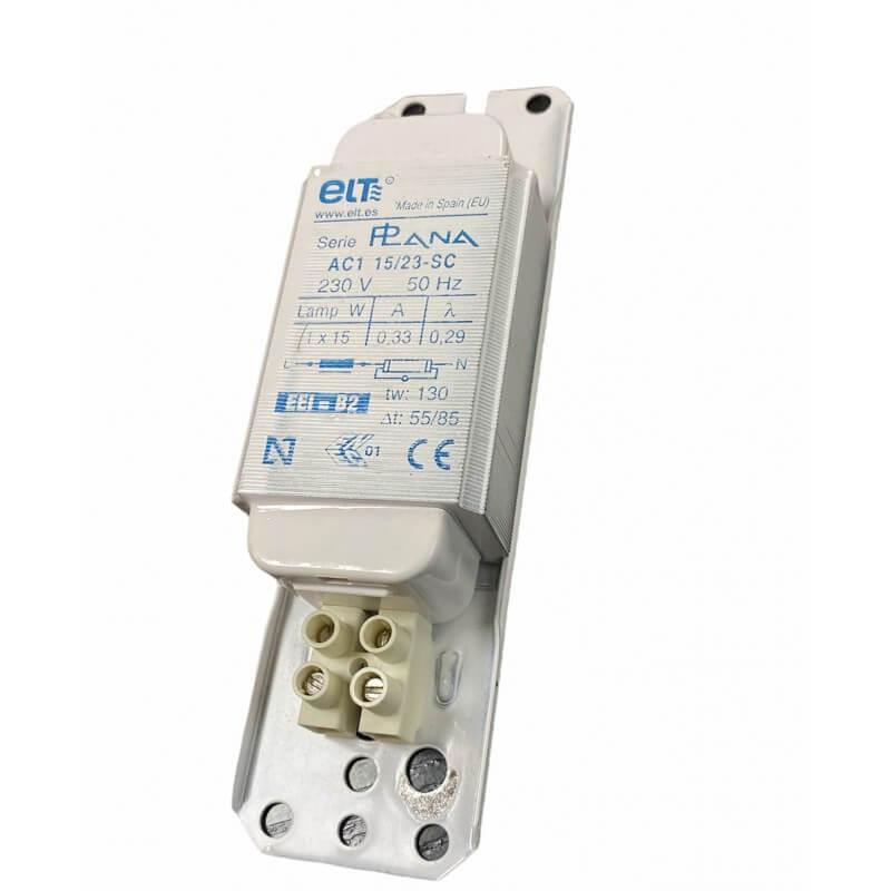 ELT AC1 15/23-SC-3 Ballast ferromagnétique 1x15w 230V clipsable 0,33A tube forme T8