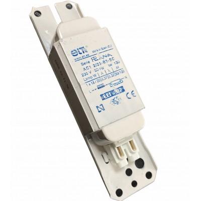 ELT AC1 2/23-B2-SC Ballast ferromagnétique 1X18W ou 1x20W clipsable 0,37A tube forme T8