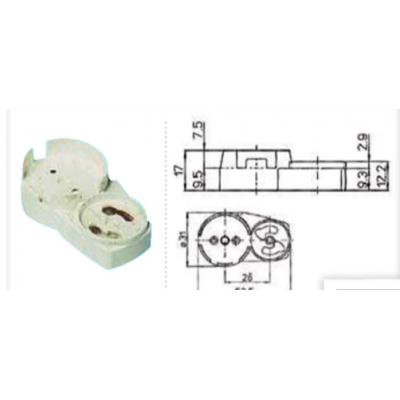 Douille volante T8 pour tube fluorescent diamètre 26mm culot G13