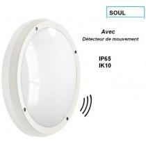 Hublot SOUL  blanc 2*E27 Gris IK10 et IP65 avec détecteur HF