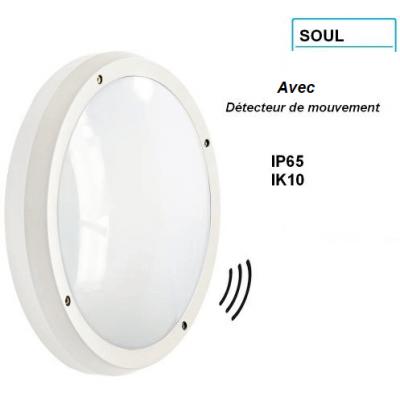 Hublot Blink SOUL 2*E27 IK10 et IP65 étanche IK10 avec détecteur de mouvement