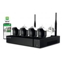 Comelit Kit Videoprotection 4 caméras IP d'extérieur CCTV Wifi et un enregistreur vidéo réseau WIKIT004S02NB