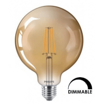Ampoule Philips LED Globe G120 8Wsubstitut 50W 630Lumens 822 Dorée-Dimmable E27