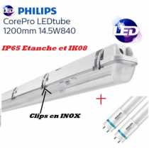 Réglette Double Philips 2*14.5W 1600 lumens Blanc froid 4000K IK08 IP65 étanche INOX 1200mm