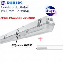 Réglette 1*T8 avec 1 tube Philips 20W substitut 50W 2200 lumens Blanc froid 4000K IK08 IP65 étanche 1500mm