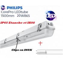 Réglette 1*T8 avec 1 tube LED Philips 20W substitut 58w 2200 lumens 6500K Blanc lumière du jour IK08 IP65 étanche 1500mm