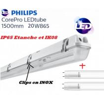 Réglette 2*T8 avec 2 tube LED Philips 20W substitut 58w 4400 lumens 6500K Blanc lumière du jour IK08 IP65 étanche 1500mm