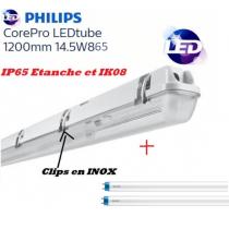 Réglette LED 2*T8 avec 2 tubes Philips 14,5W substitut 36W 3200 lumens 6500K Blanc lumière du jour IP65 étanche 1200mm