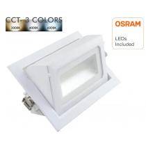Encastré orientable rectangulaire 36W 4300 lumens CCT couleur sélectionnable diamètre de perçage 215*125mm