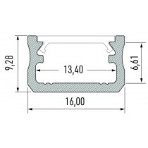 PROFILE 10-0010-10schema Kit profile Alu Type A profile+couvercle+2 bouchons avec trous 1m
