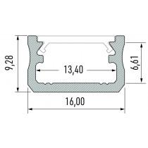 10-0010-10-2 Kit profile Alu Type A 2m avec couvercle + 2 bouchons de finition et 2 supports de fixation