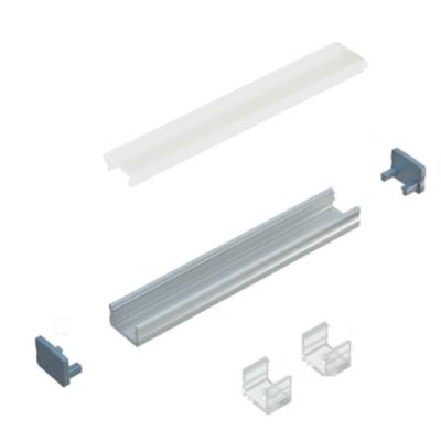 Kit profile Alu Type A 1m avec couvercle + 2 bouchons de finition et 2 supports de fixation