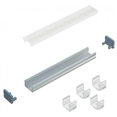 Kit profile LED Alu Type A 2m avec couvercle + 2 bouchons de finition et 4 supports de fixation