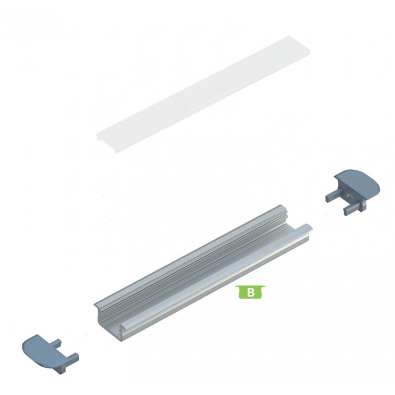 Kit profile Alu Type B encastré 1m avec couvercle + 2 bouchons de finition 10-0020-10