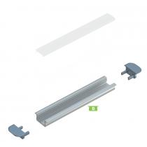 Kit profile Alu Type B encastré 2m avec couvercle + 2 bouchons de finition 10-0020-20