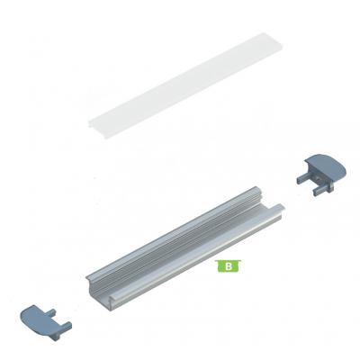 Kit profile Alu Type B à encastrer 2m avec couvercle + 2 bouchons de finition
