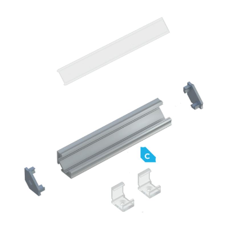 Kit profile Alu Type C encastré 1m avec couvercle + 2 bouchons de finition 10-0031-10